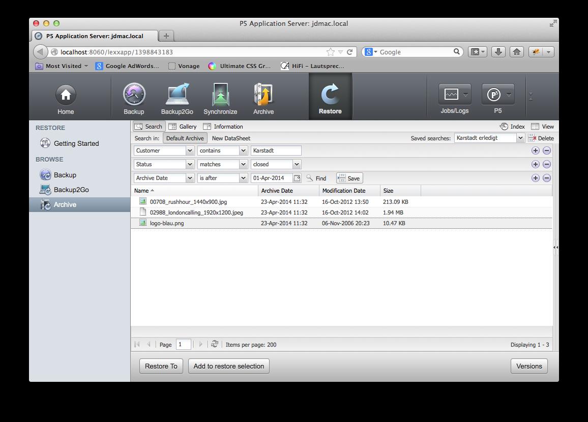 Screenshot Storable Search