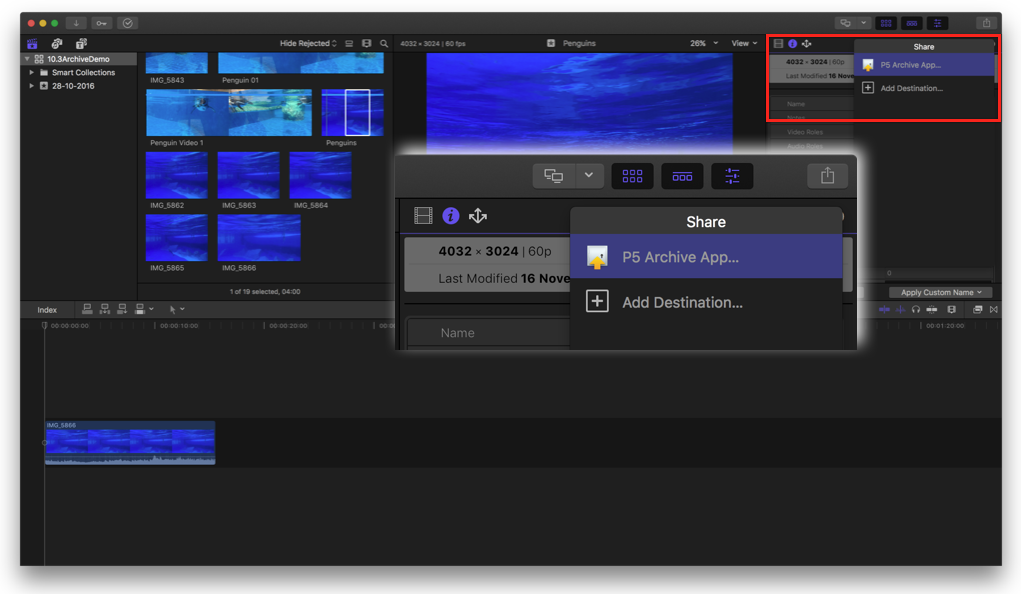 Screenshot FCPX10.3 - Shared destination