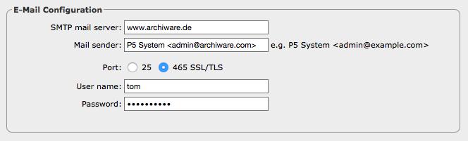 Screenshot E-Mail Configuration